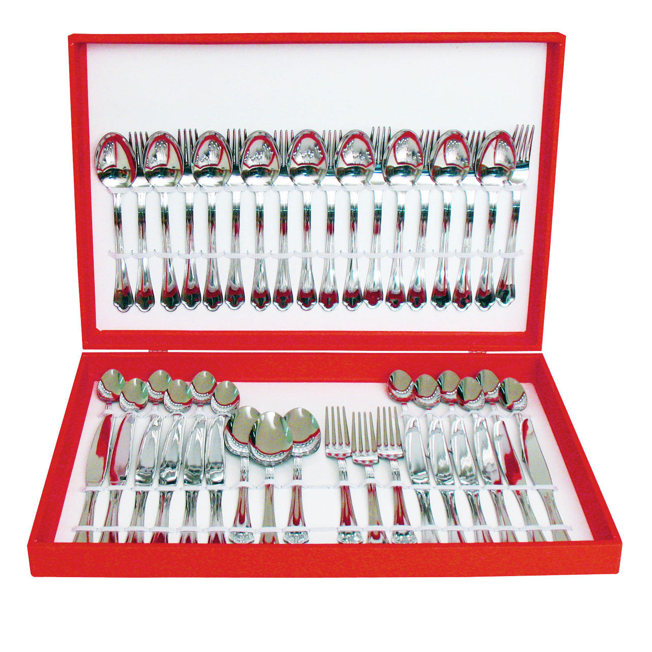 61600048 48 pcs. cutlery set pressed knife Wooden Box