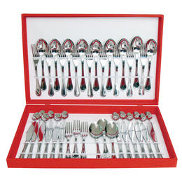 61319048 48 pcs. cutlery set pressed knife Wooden Box